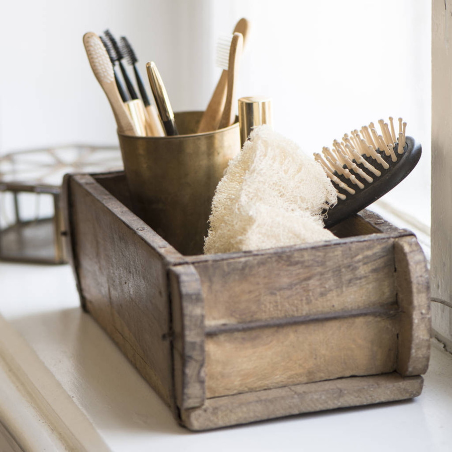 Cepillo de pelo en caja de madera