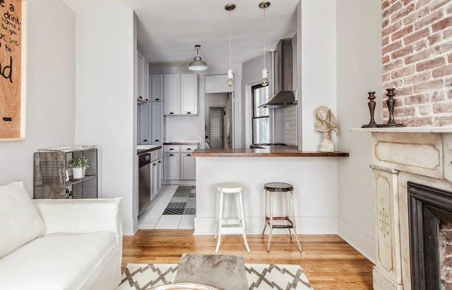 Departamento pequeño con cocina abierta a la sala