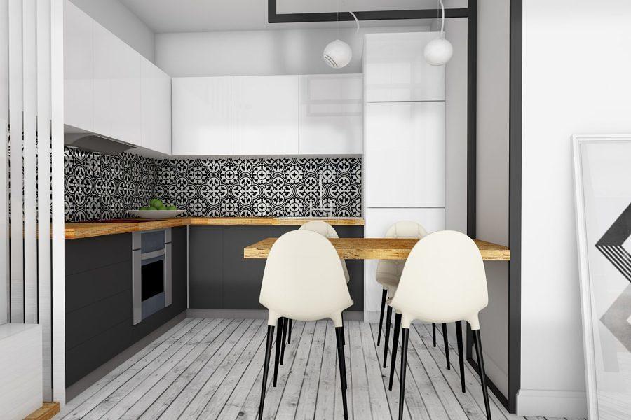 Cocina con azulejos estampados geométricos