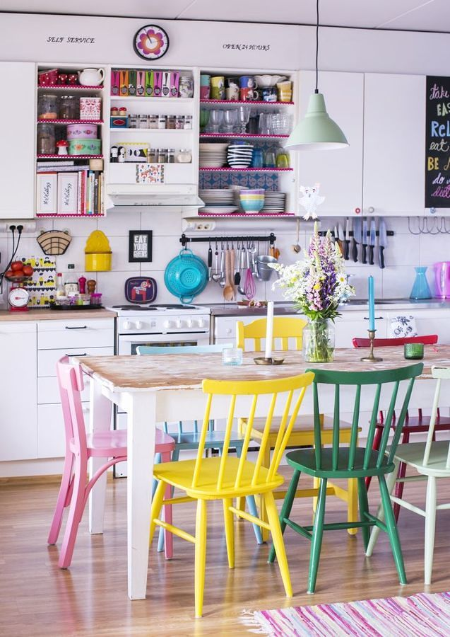 Cocina con muebles de colores