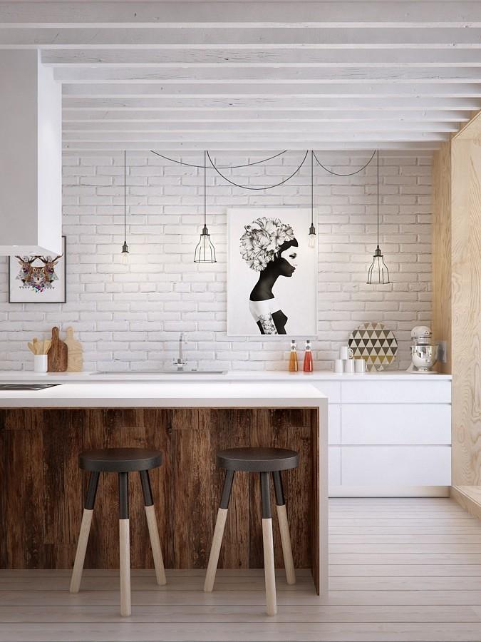 Cocina con pared de ladrillo visto blanco