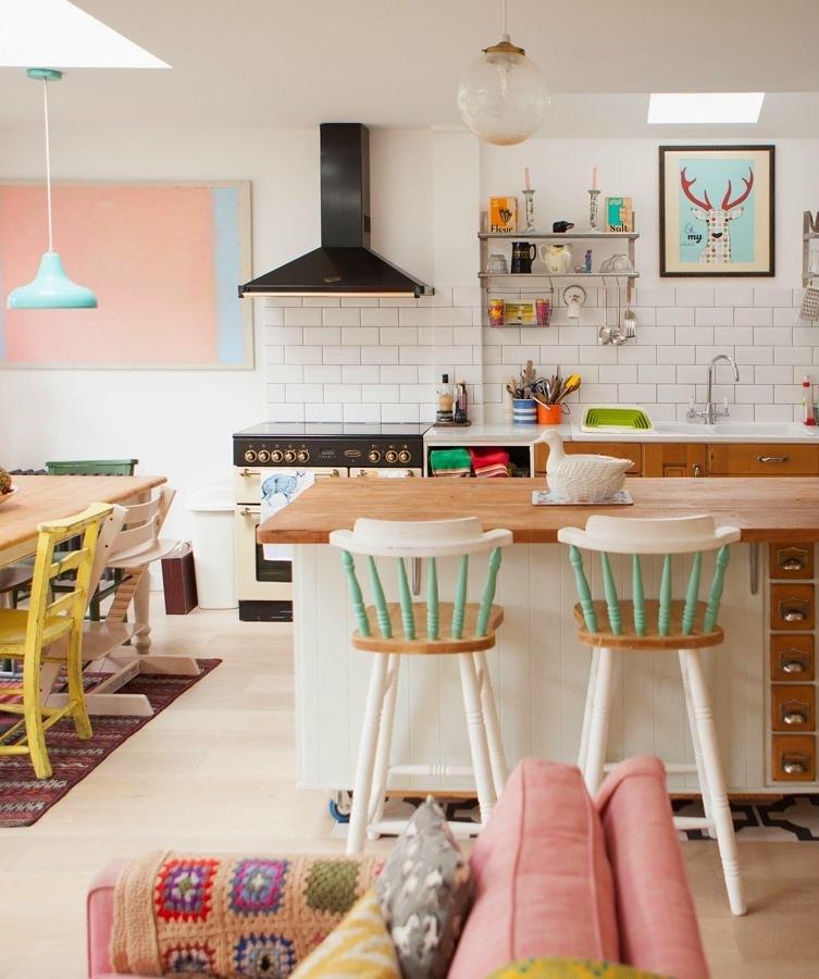 Cocina nórdica en colores pastel