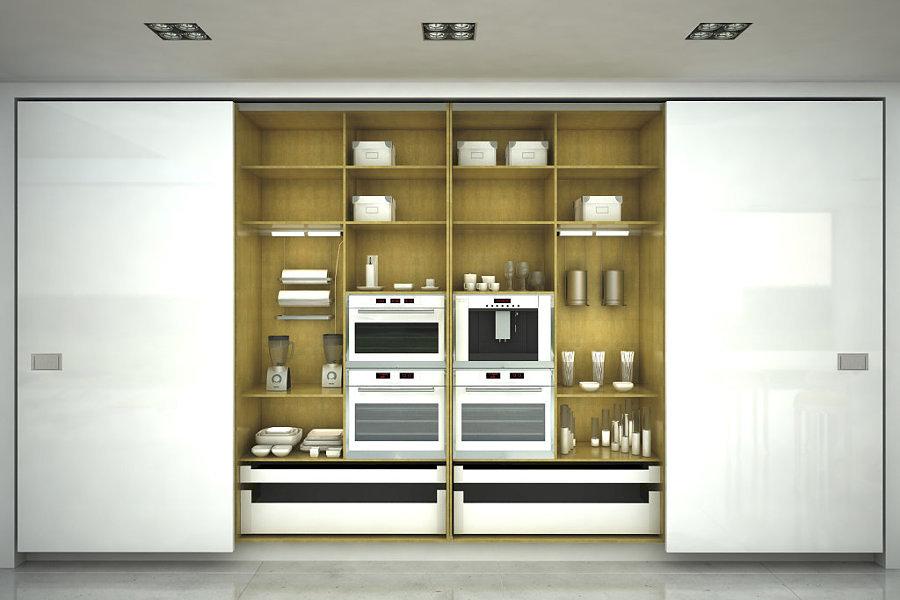 Cocinas ocultas espacios multifuncionales ideas dise o - Puertas correderas ocultas ...