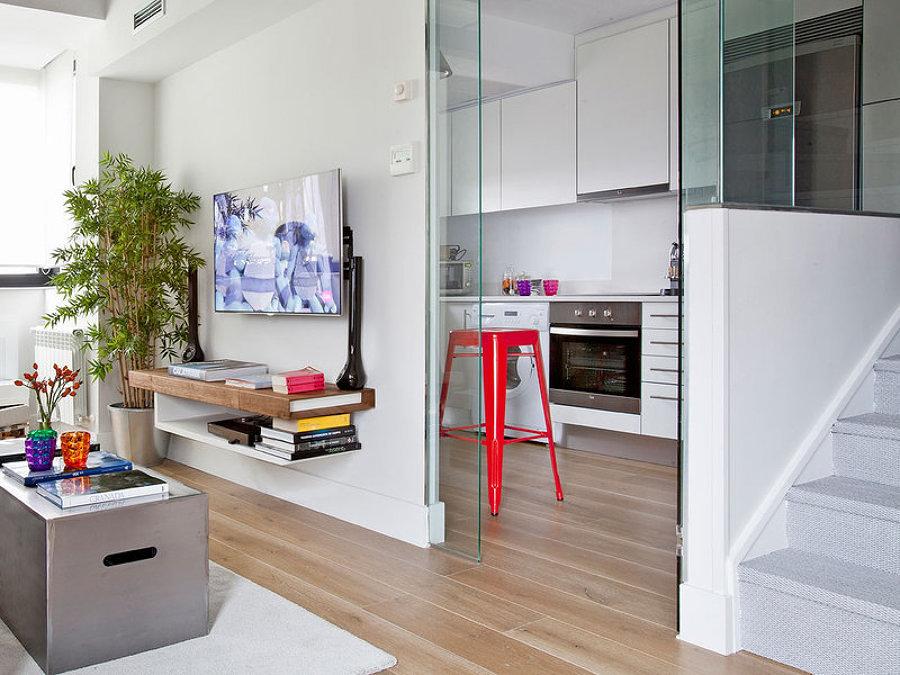 Cocina y sala conectadas