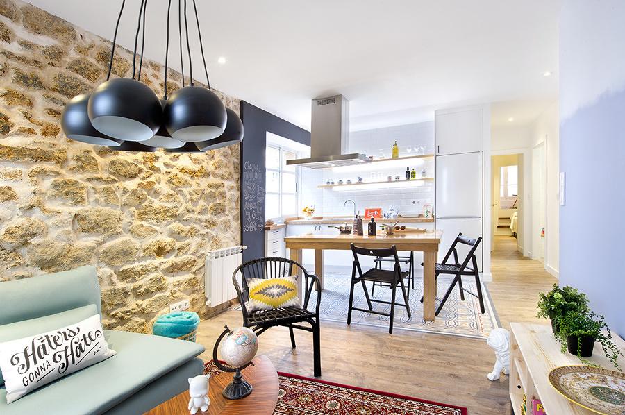 Elegant Cocina Y Salón Integrados En El Mismo Espacio