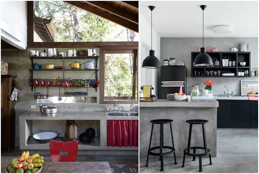 El cemento en la decoraci n del hogar ideas dise o de for Cocinas industriales modernas