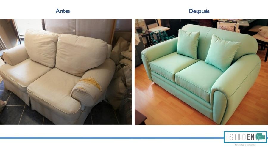 Comparación antes y después de sillón Love Seat