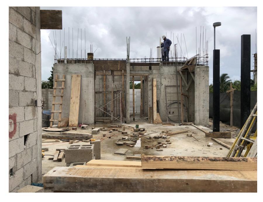 construction obra Laguna Puerto Cancun