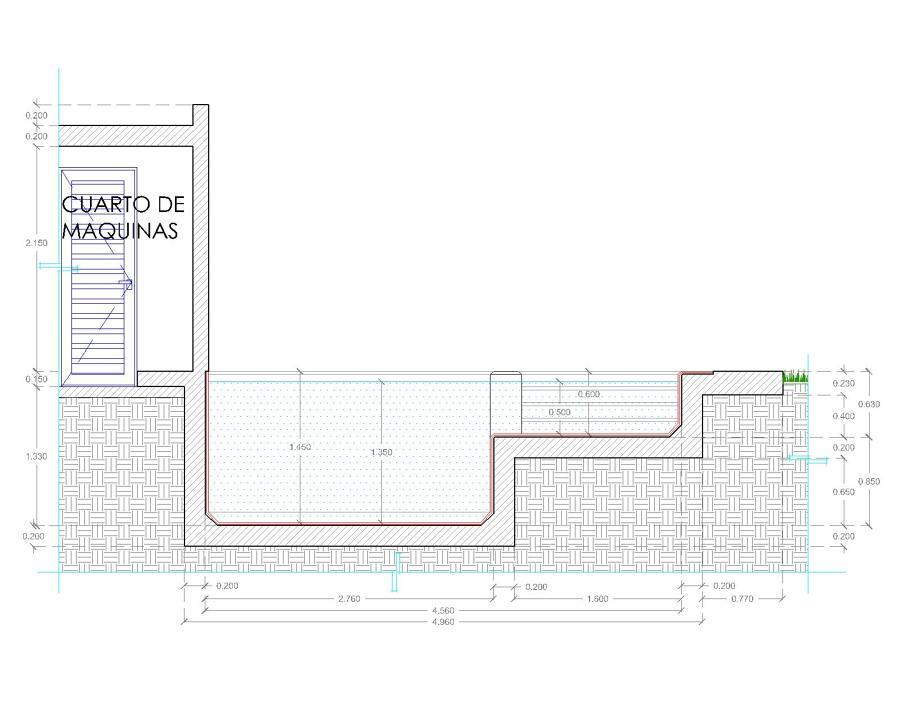 Foto corte longitudinal de abach arquitectura gestor a for Planos para construir una piscina