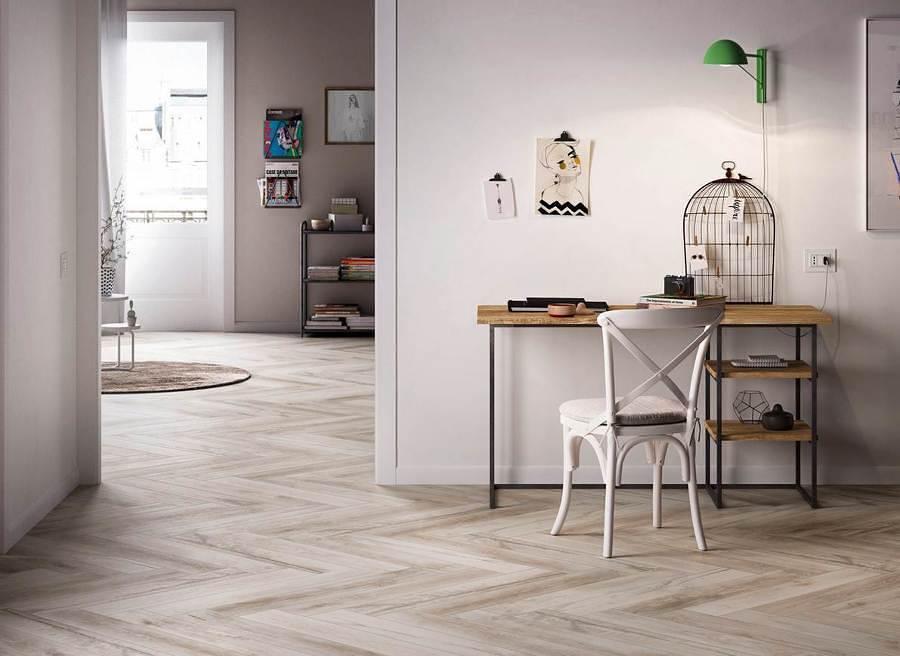 despacho con suelo porcelánico imitación mármol