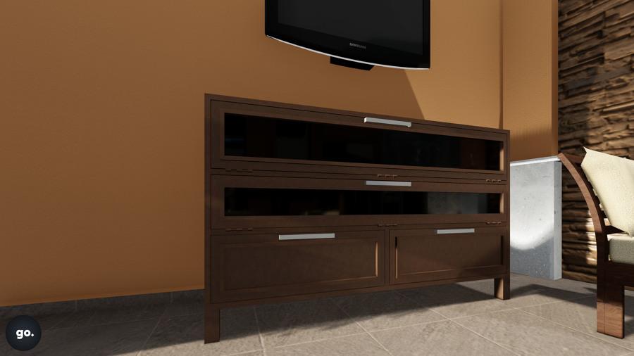 Foto dise o de mueble para tv en herrer a de go for Diseno de muebles para tv modernos