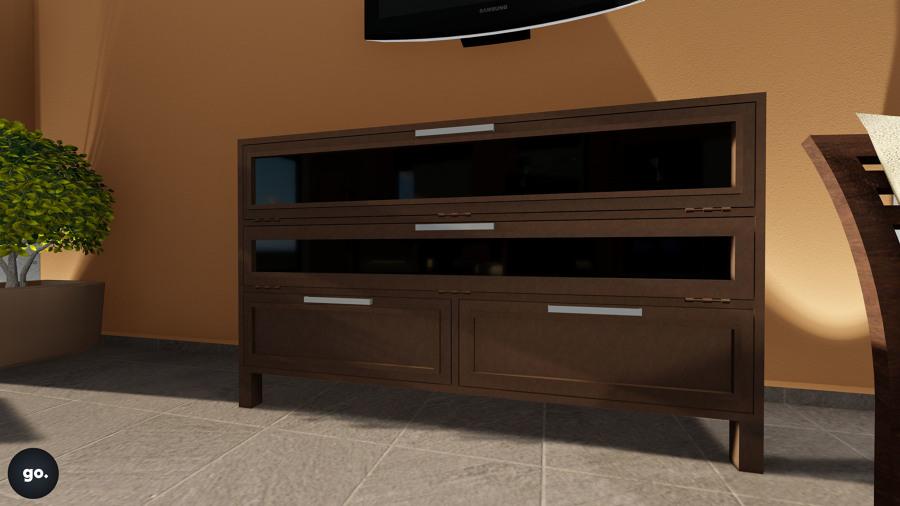 foto: diseño de mueble para tv en herrería de go. arquitectura y ... - Muebles De Herreria Para Tv
