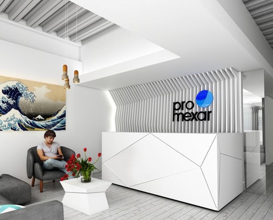 Foto dise o oficinas pro mexar de samife dise o y for Diseno de recepciones oficinas