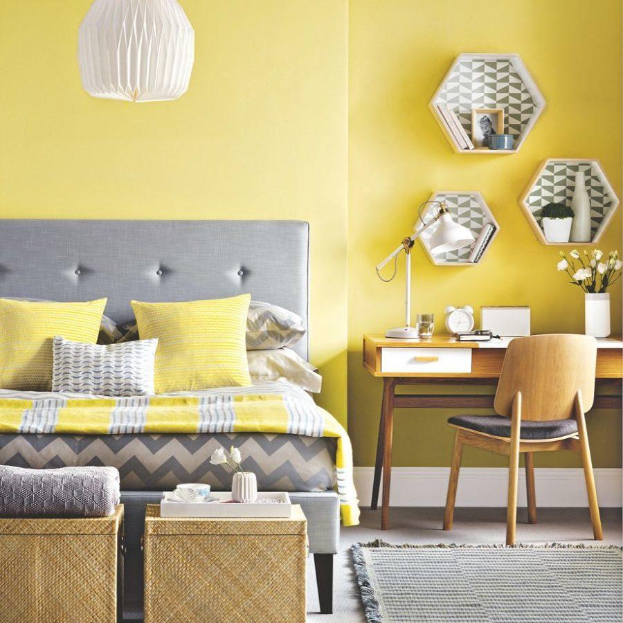 Recámara decorada con amarillo Primrose