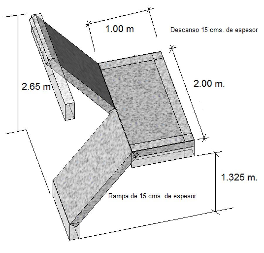 Foto escalera de concreto armado de ingenier a proyectos for Escalera de cemento con descanso