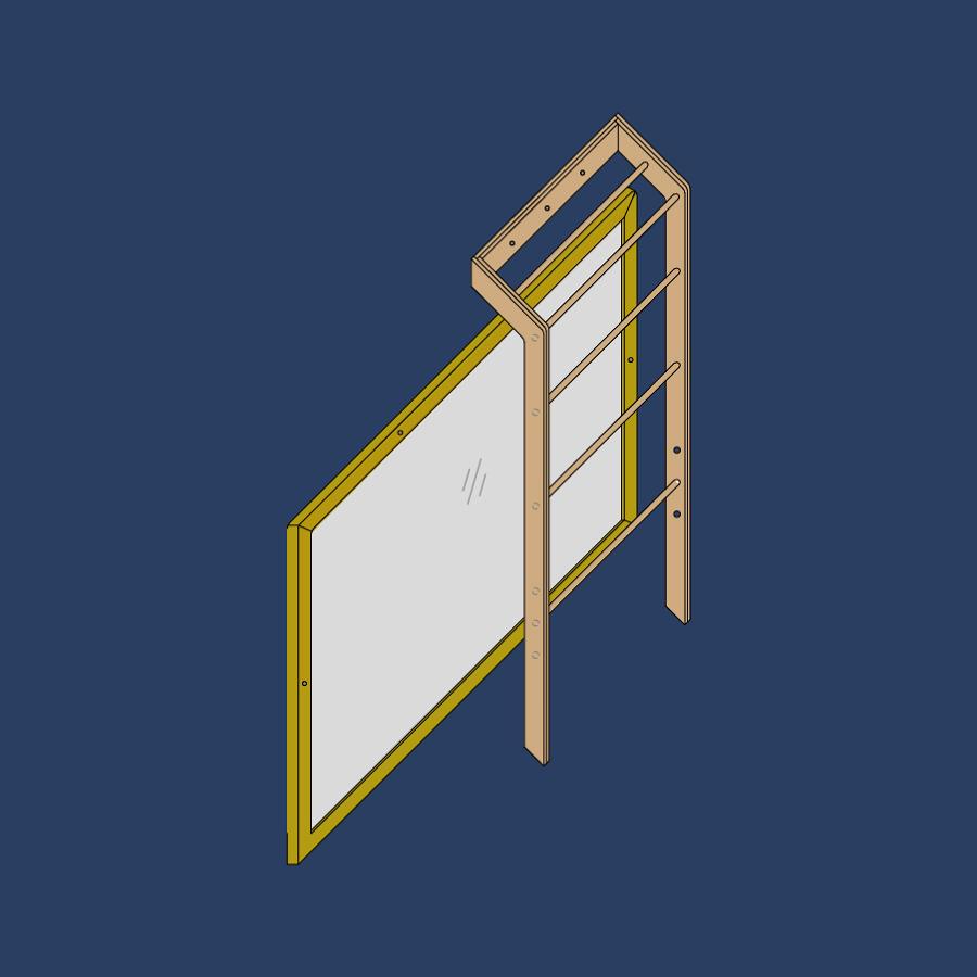 Espejo y escalera montessori