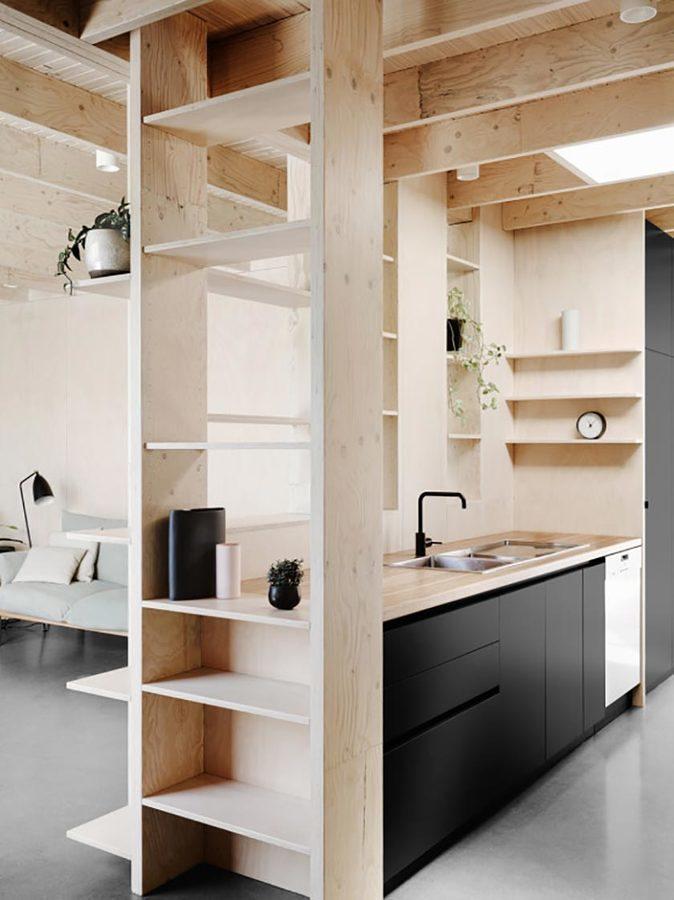 Estantes separadores de madera