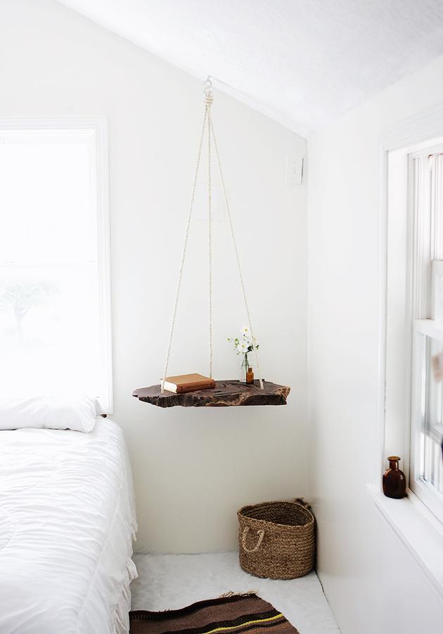 estanteria madera y cuerda