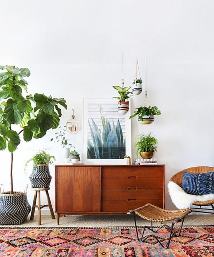 Casa estilo boho decorada con plantas y tapete con diseño étnico