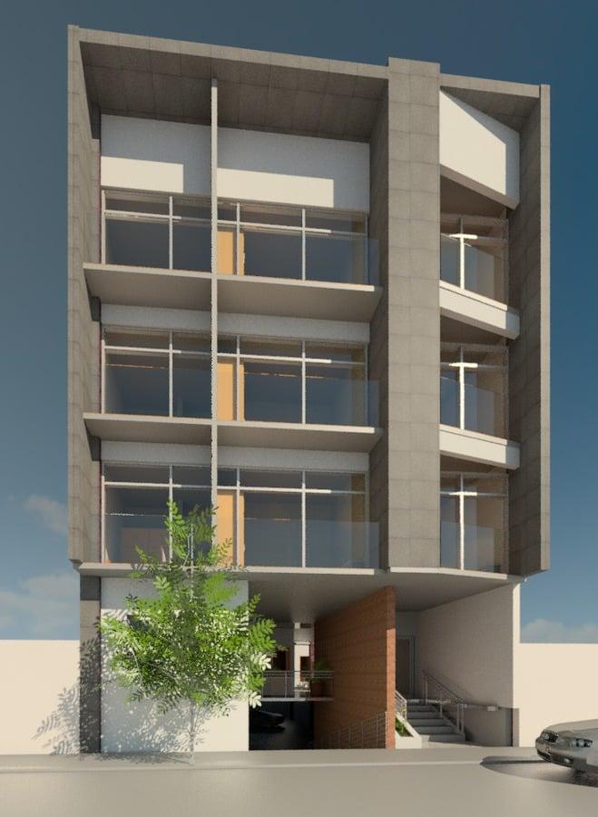 Foto fachada edificio de departamentos de tixi grupo for Departamentos minimalistas fachadas