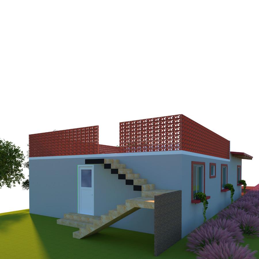 Fachada posterior, escaleras para Roof Garden