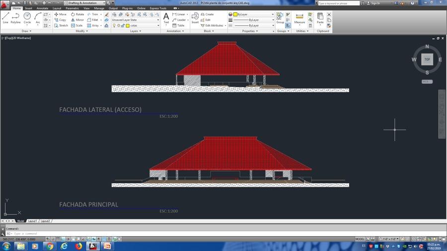 Fachadas Laterales Proyecto Palapa para eventos Hotel PCMA