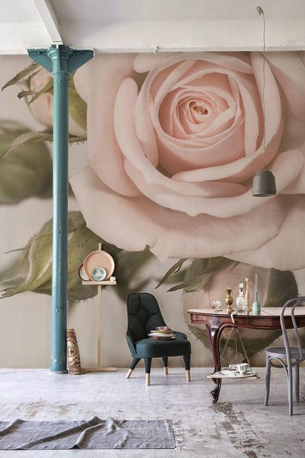 Fotomural floral en la pared