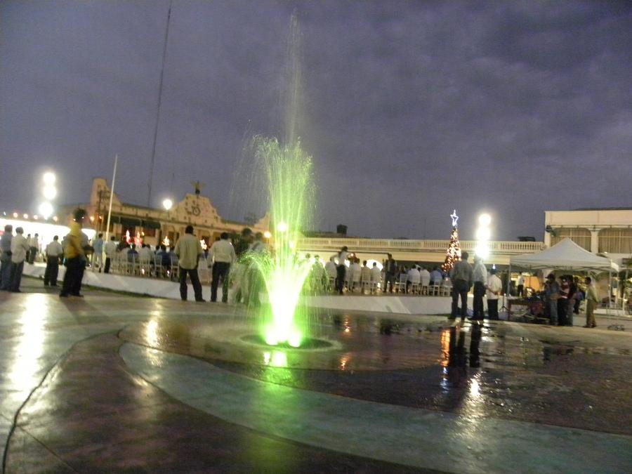 Fuente de Tulipan con led rgb en color verde.