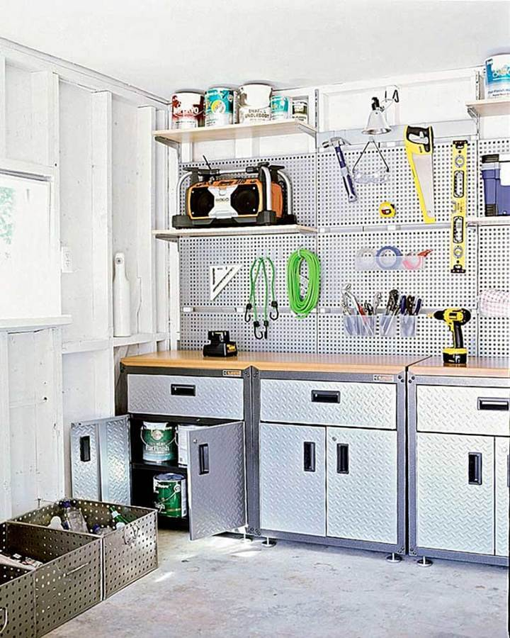 Taller estilo industrial en casa con herramientas