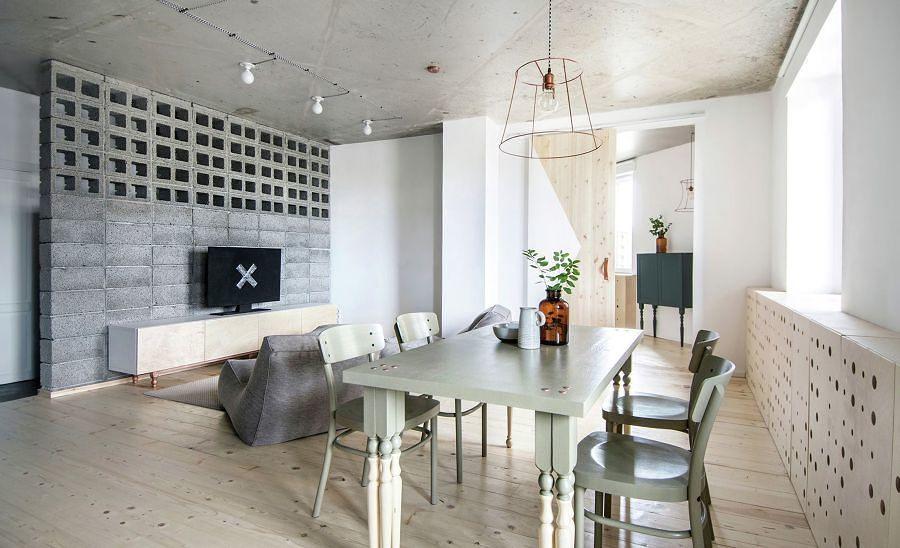 sala decorada con concreto