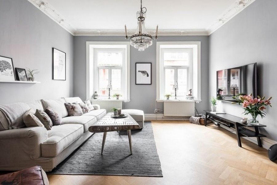 Foto sala de color gris con piso de madera 260364 for Pisos de madera color gris