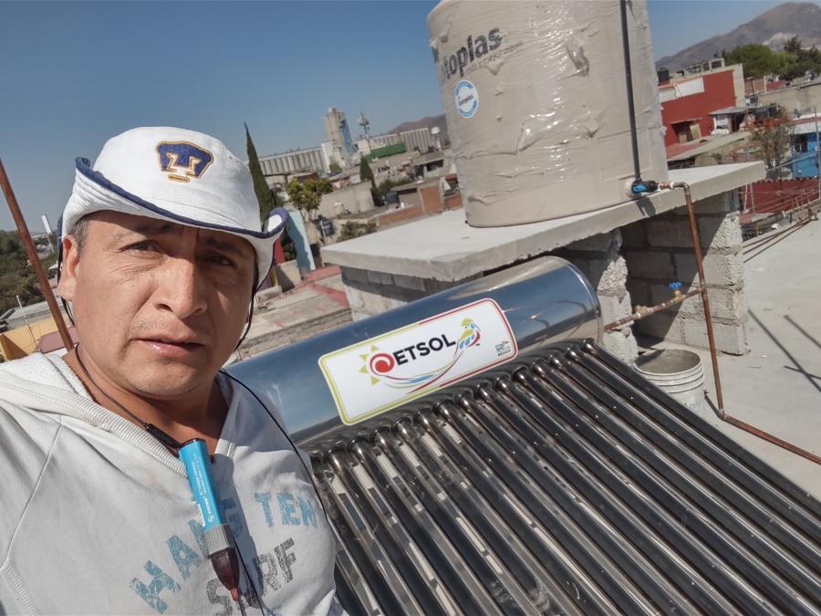 Instalación de calentador solar y tinaco