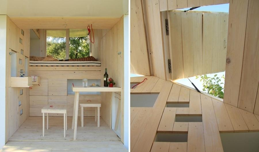 interior casa pequeña de madera
