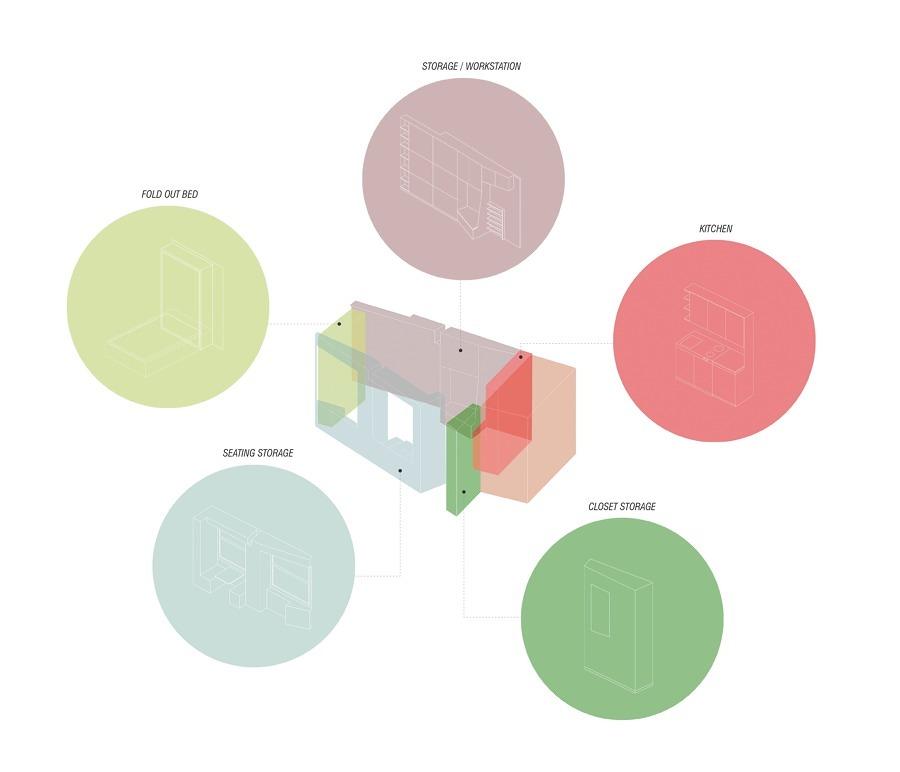 Isométrica de distribución casa 13 m2