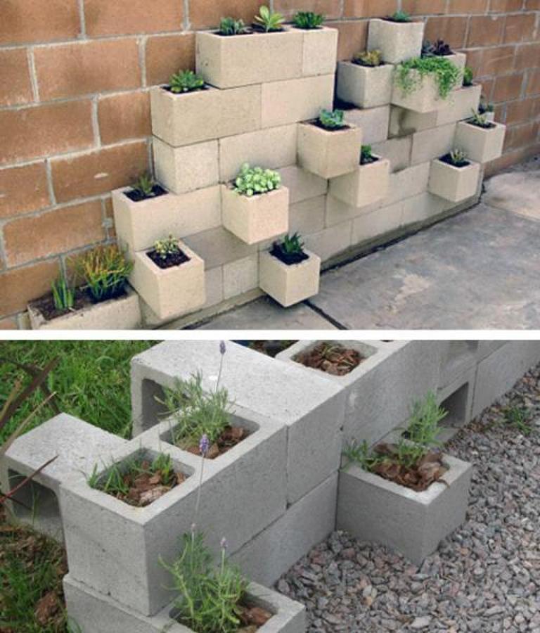Mobiliario con bloques y concreto reciclado ideas dise o - Jardineras de obra exterior ...