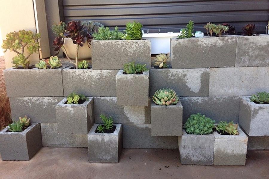 Mobiliario con bloques y concreto reciclado ideas dise o for Jardineras con bloques