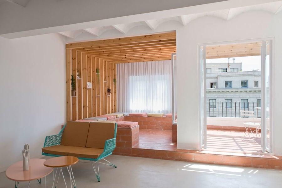 Terraza con tablones de madera