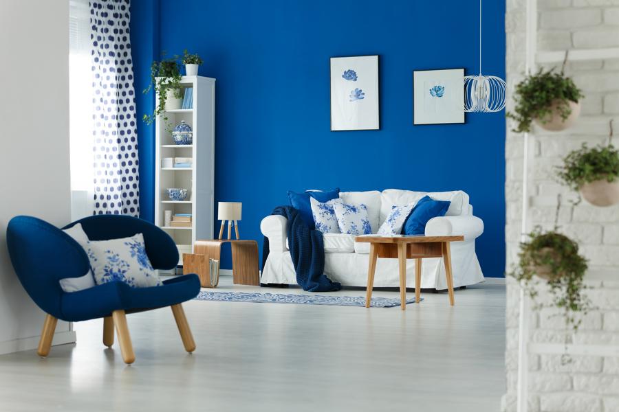 living con decoración azul