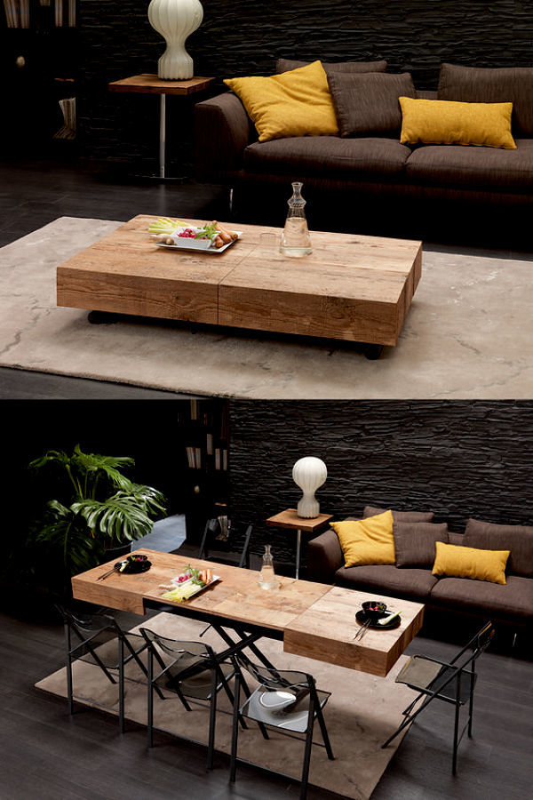 Sala con mesas abatibles