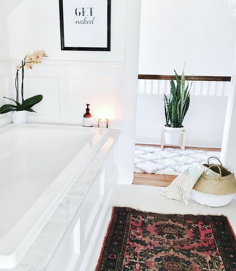 Baño minimalista con planta lengua de suegra