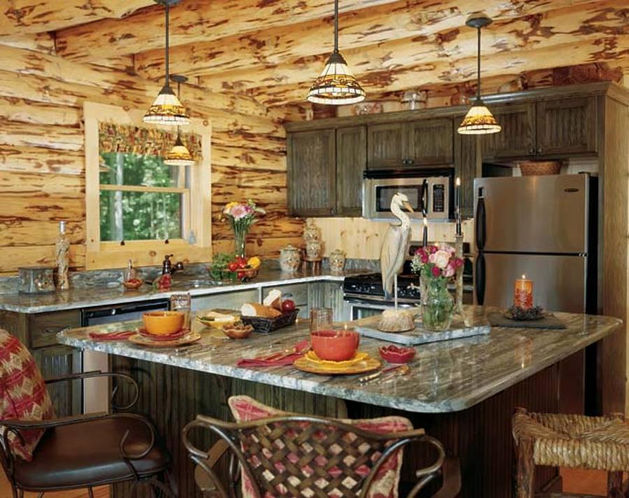 Modelo de cocina en cabaña rústica