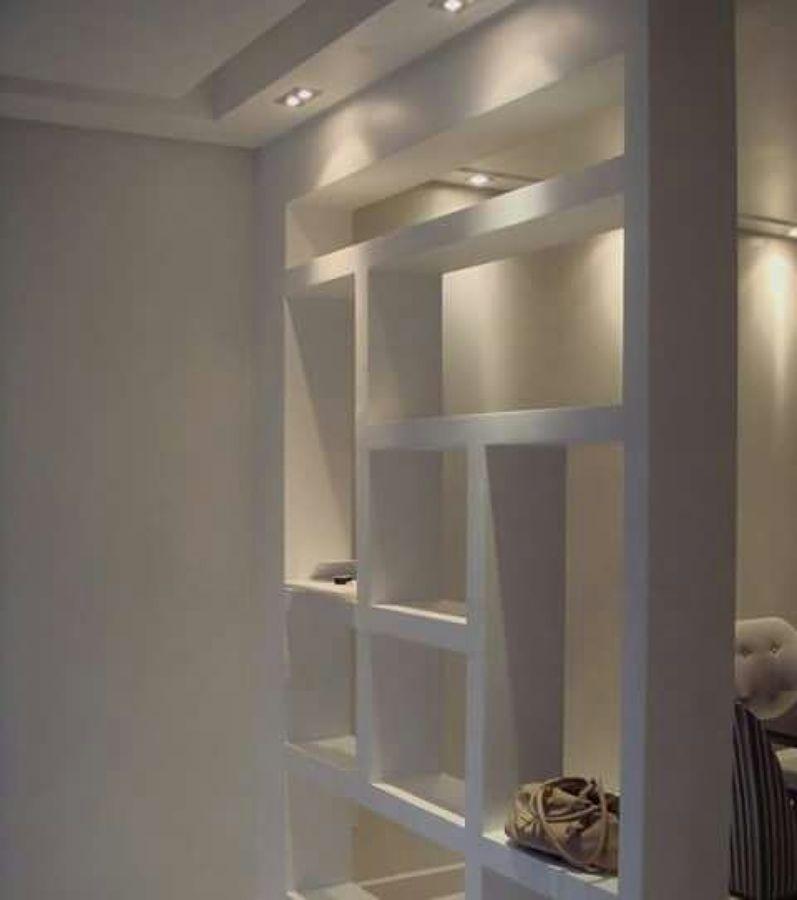 Foto mueble divisorio en tablaroca con iluminaci n empotrada en cajillo de mlr construcciones - Iluminacion para muebles ...