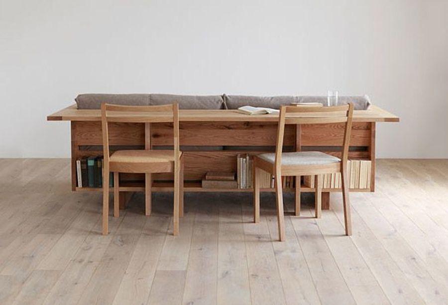 Sofá-mesa de diseño con dos sillas