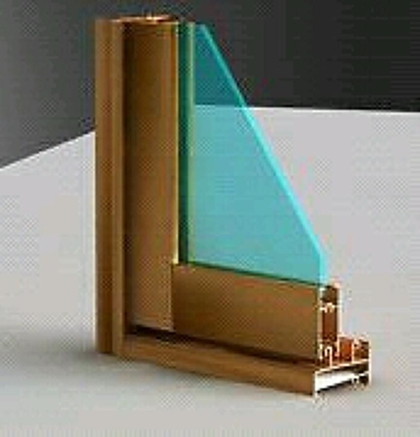 Foto muestra de ventana serie 3600 color pino de aluminio for Colores de aluminio para ventanas en mexico