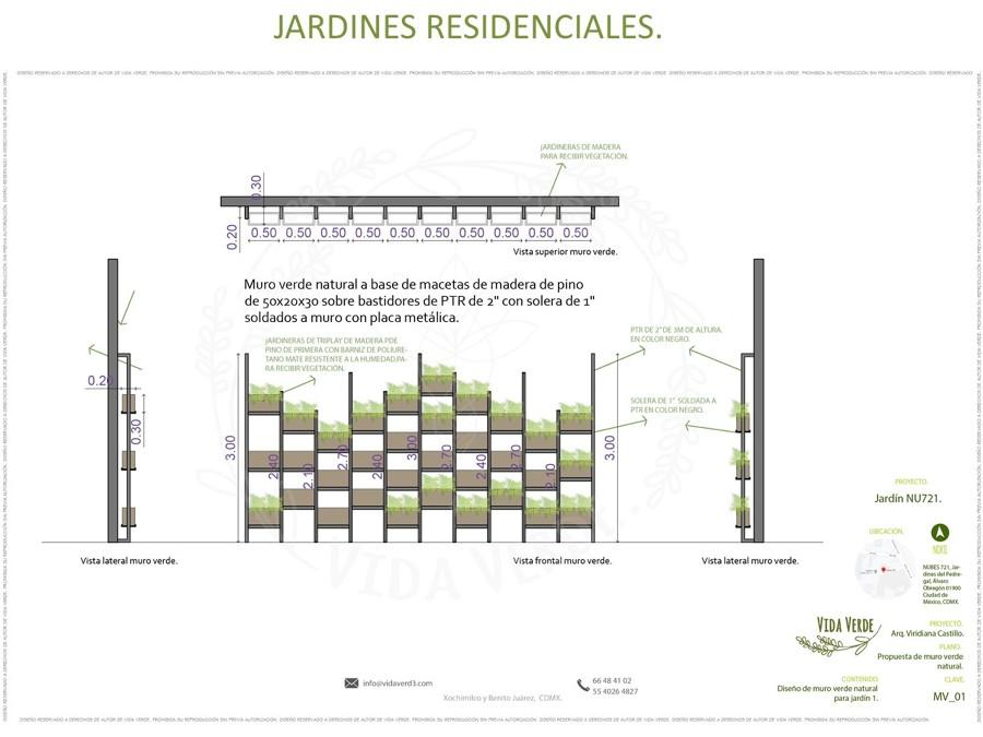 Muro natural con jardineras en bastidor