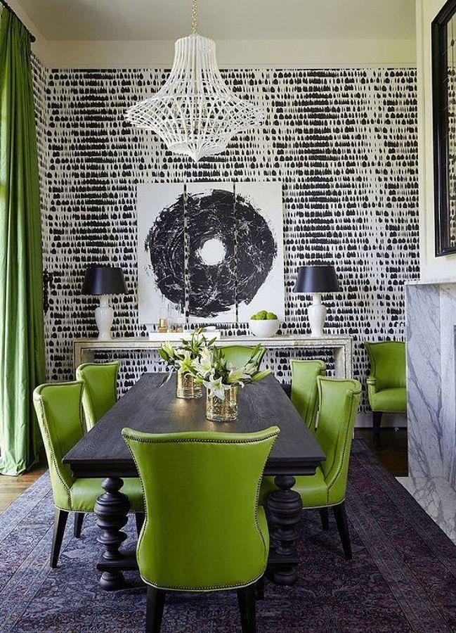 Negro combinado con verde Greenery