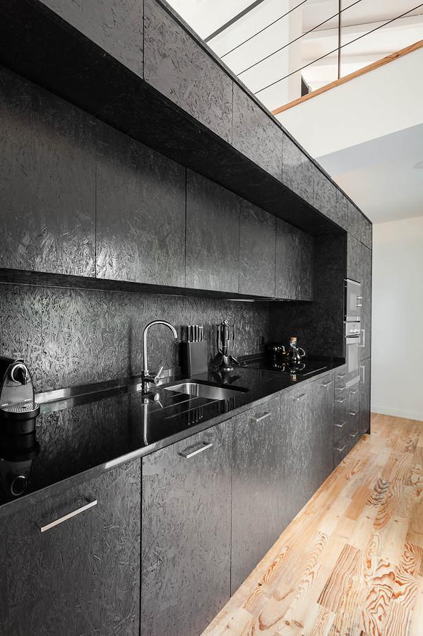 Muebles cocina OSB negro