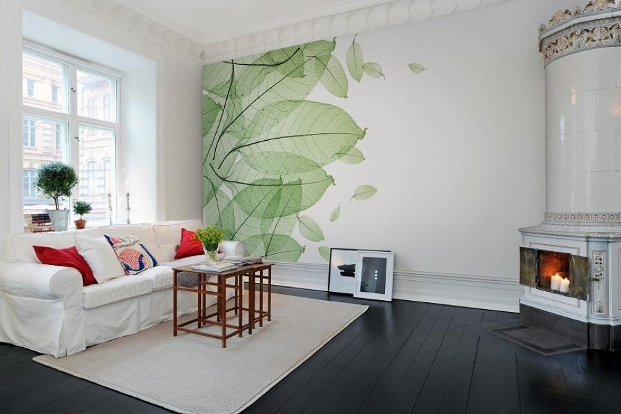 Sala con fotomural grande en la pared