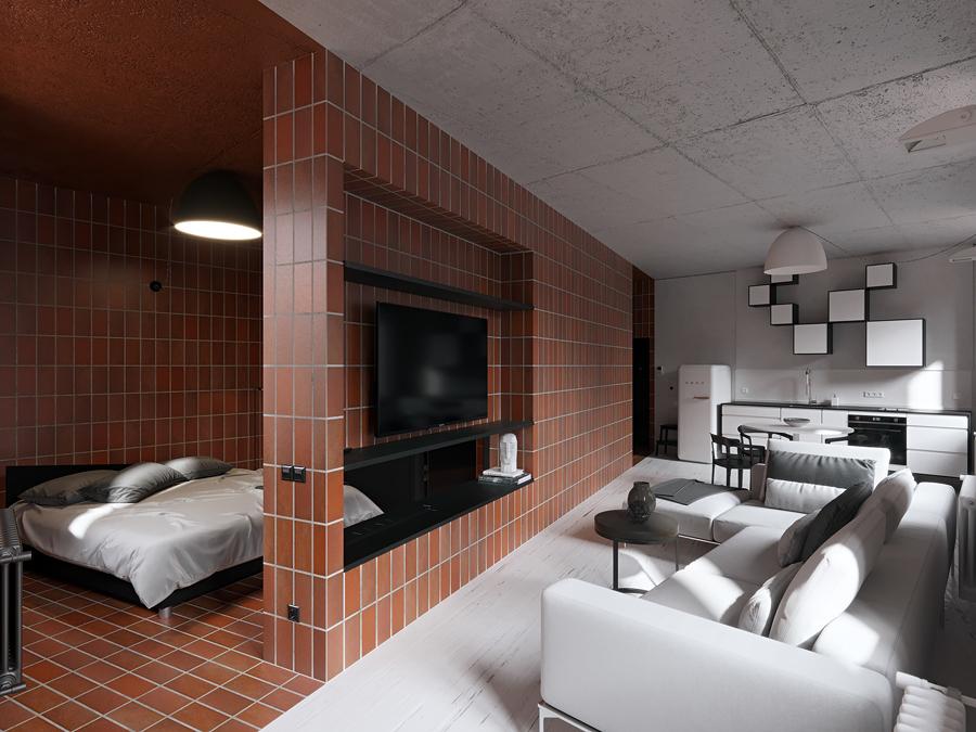 Sala y recámara con piso y pared de terracota