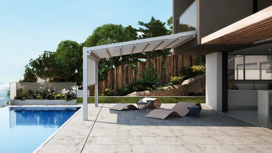 Pérgola con techo inclinado en la terraza